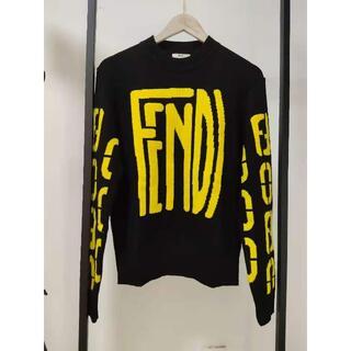 FENDI - FENDI ブラックウール セーター ロゴ ニット