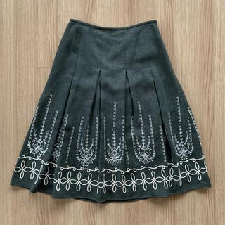 23区 - 東京スタイル PAUGHTY 上質素材 刺繍 膝下丈 ウール スカート