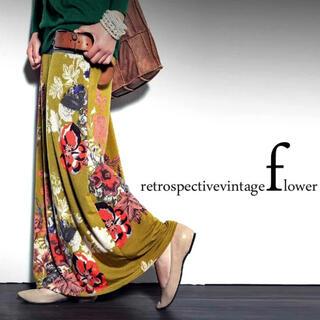 antiqua - antiqua  花柄ロングスカート