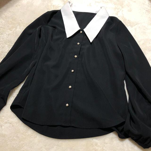 しまむら(シマムラ)のしまむら 白襟ブラウス レディースのトップス(シャツ/ブラウス(長袖/七分))の商品写真