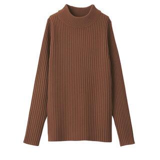 MUJI (無印良品) - 無印良品  首がチクチクしないハイネックセーター  新品未使用  レンガ色