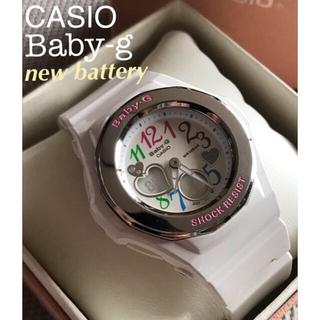 カシオ(CASIO)のcasio Baby-g レディース デジアナ ホワイト 白 電池新品(腕時計)