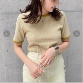 Kastane - kastane テレコボーダーパイピングTシャツ イエロー
