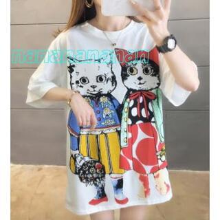 XL猫オーバーサイズTシャツ♥カットソー♡ハチワレ黒白サバトラ