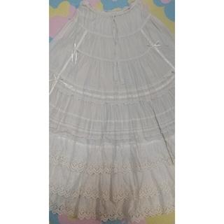ピンクハウス(PINK HOUSE)のピンクハウス サテンリボンと十字(クロス)刺繍フリル  スカート(ロングスカート)