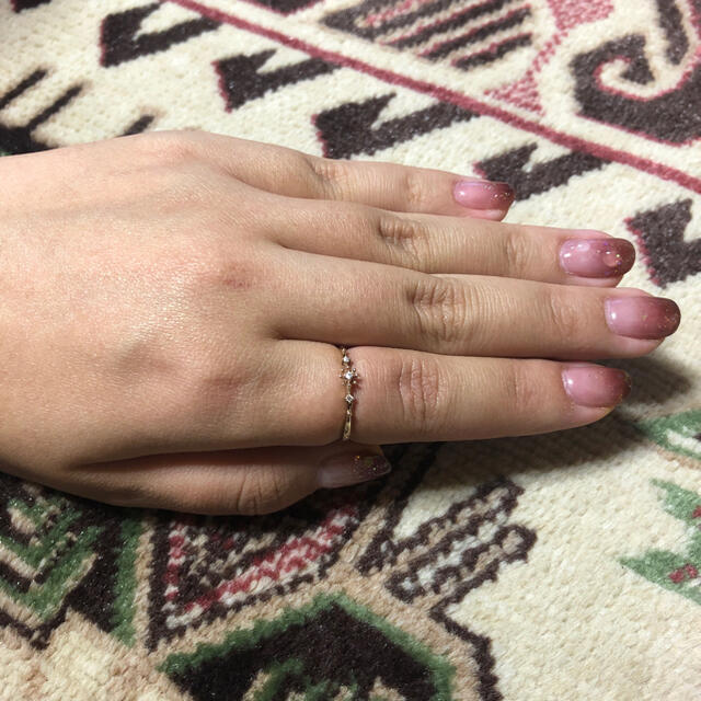 agete(アガット)のアガット  k10 メレダイヤ付きリング レディースのアクセサリー(リング(指輪))の商品写真