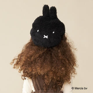 petit main - 新品タグ付 ビールーム ミッフィー ベレー帽 54cm 黒 ボア