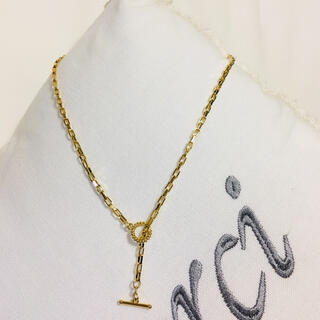 DEUXIEME CLASSE - 艶やかゴールドスクエアチェーンのマンテル金具ネックレス