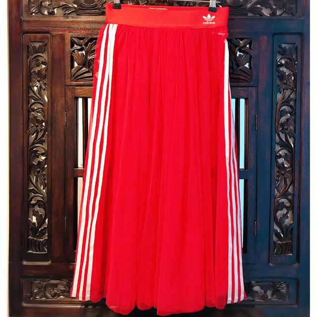 adidas(アディダス)のアディダス シースルー 赤 レッド チュール ジャージ スカート パンツ ml  レディースのスカート(ロングスカート)の商品写真
