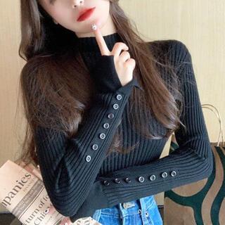 ムルーア(MURUA)の袖カットタートルネックセーター(ブラック)(ニット/セーター)