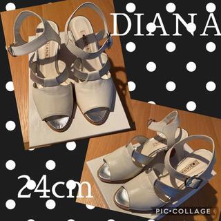 DIANA - DIANA サンダル(ホワイト✖️シルバー)