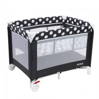 KATOJI ベビーベッド プレイヤード ドット柄 移動可能 折り畳み 赤ちゃん