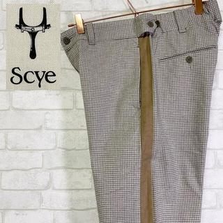 サイ(Scye)のScye サイ チェック柄 スラックス サイドライン日本製 マスターピース(スラックス)