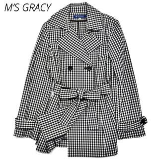 エムズグレイシー(M'S GRACY)のM'S GRACY トレンチコート エムズグレイシー ギンガムチェック 美品 (トレンチコート)