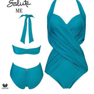ワコール(Wacoal)のサルート ターコイズ色のワンピーススタイルの水着(水着)