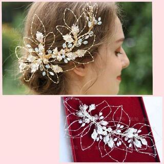☆新品ヘッドドレスシルバー ウェディングブライダルティアラヘアアクセサリー結婚式(ウェディングドレス)