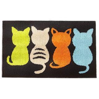 玄関マット 室内 キャラクター 足拭きマット 可愛い 猫柄  R4594