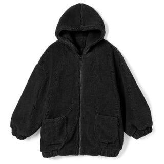 グレイル(GRL)の【美品】GRL グレイル フーディボアジャケット 黒(ブルゾン)
