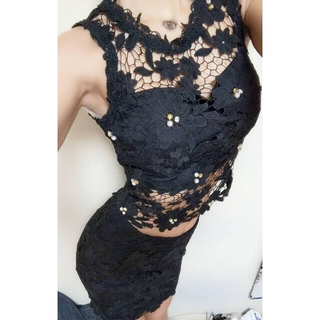 dazzy store - 黒のセットアップドレス着画、キャバドレスミニドレス、セットアップ、レースセクシー