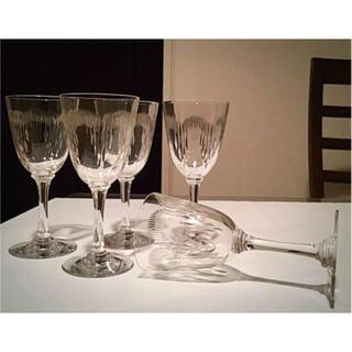 Baccarat - ☆希少/廃番☆  オールドバカラ モリエール H13.4㎝ 白ワイングラス 5脚