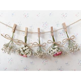 ホワイトかすみ草とサーモンピンクのバラのドライフラワーガーランド♡スワッグ♡(ドライフラワー)