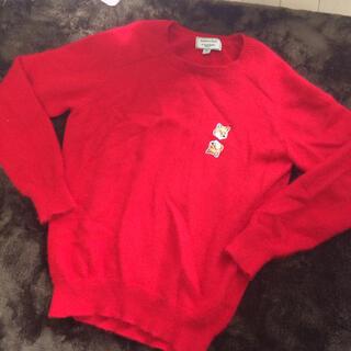 メゾンキツネ(MAISON KITSUNE')のメゾンキツネ アンゴラニット 赤 Sサイズ(ニット/セーター)