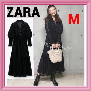 ZARA - 完売品 ZARA スイスドット柄ミディ丈ワンピース レース 水玉 黒 8