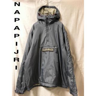 ナパピリ(NAPAPIJRI)のNAPAPIJRI ナイロンアノラックパーカー ボックスロゴ グレー(マウンテンパーカー)