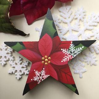 クリスマスオブジェ【星型】【クリスマス xmas】【ポインセチア】(インテリア雑貨)