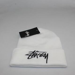 stussy ステューシー ニット帽 ロゴ刺繍 ホワイト  白