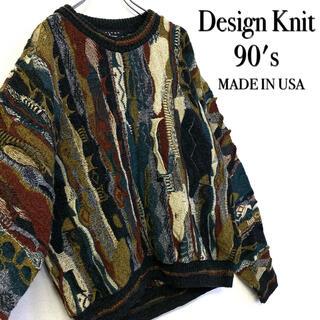 美品 90's US古着 3Dデザインニット メンズM 総柄セーター