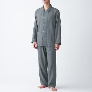 MUJI (無印良品) - 脇に縫い目のない 四重ガーゼパジャマ メンズ