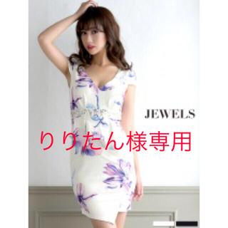 ジュエルズ(JEWELS)の花柄ペプラムデザインカットキャバドレス(ミニドレス)
