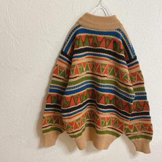 パナマボーイ(PANAMA BOY)のvintageレトロ古着メンズ刺繍ハイネックカラフルニット(ニット/セーター)