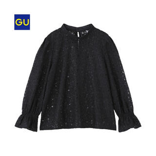 GU - 【GU】レースキャンディスリーブブラウス(7分袖) Sサイズ