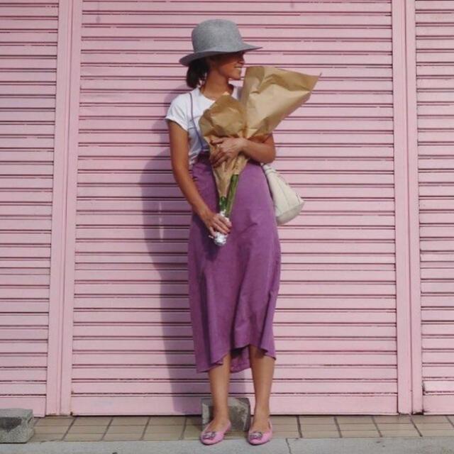 TODAYFUL(トゥデイフル)のmeer. 人気 パープル スウェード スカート レディースのスカート(ロングスカート)の商品写真