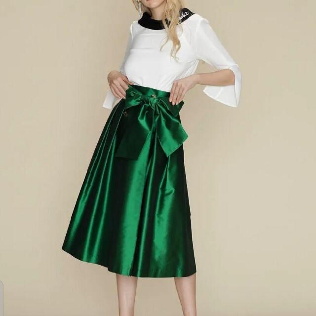 GRACE CONTINENTAL(グレースコンチネンタル)の19aw 美品 グレースコンチネンタル トリアセタフタラップスカート レディースのスカート(ひざ丈スカート)の商品写真