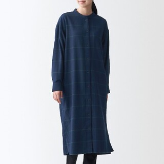 MUJI (無印良品) - 新疆綿 フランネル スタンドカラーワンピース M~L