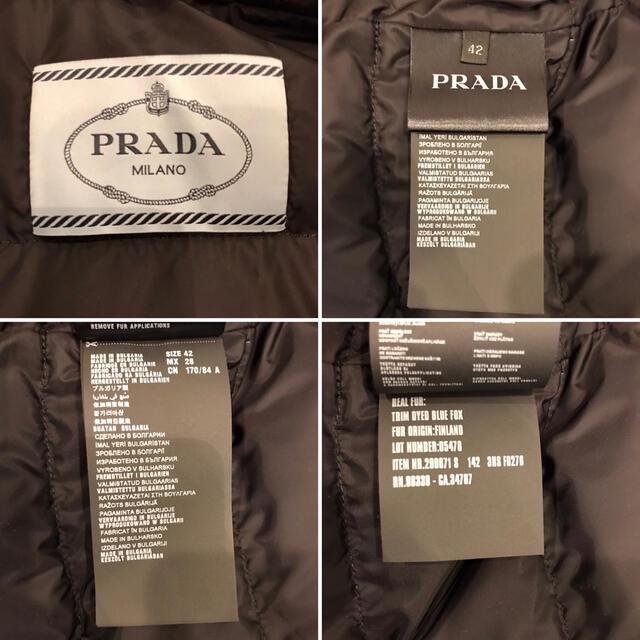 PRADA(プラダ)の新品未使用❣️タグ付き プラダ PRADA ダウン ジャケット 黒 グレー 42 レディースのジャケット/アウター(ダウンジャケット)の商品写真