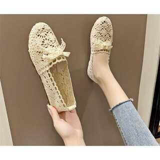 編み物 怠惰な靴 漁師の靴 婦人靴   フラットシューズ
