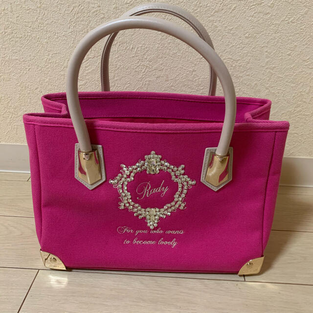 Rady(レディー)のRady フレーム トートバッグ Sサイズ ピンク 美品  レディースのバッグ(トートバッグ)の商品写真