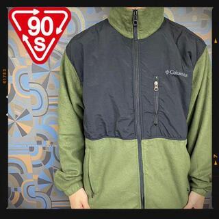 コロンビア(Columbia)のコロンビア Columbia フリースジャケット 深緑 カーキ 抹茶色 刺繍(マウンテンパーカー)