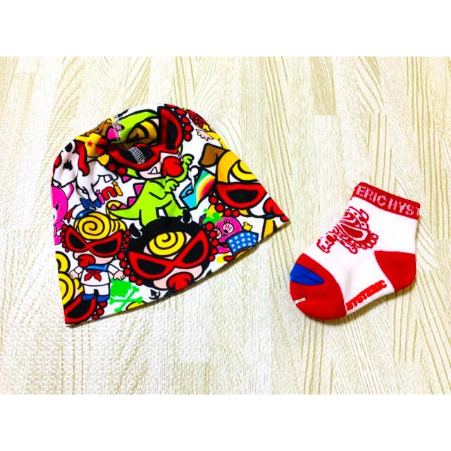 HYSTERIC MINI(ヒステリックミニ)の新品 ヒスミニ 3点セッ モンスター靴下 帽子 ロンパース 60〜70  キッズ/ベビー/マタニティのベビー服(~85cm)(ロンパース)の商品写真