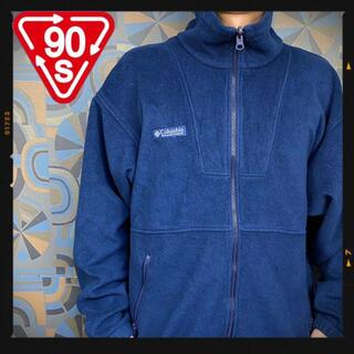 コロンビア(Columbia)のコロンビア Columbia フリースジャケット 青 ブルー ネイビー 刺繍(マウンテンパーカー)