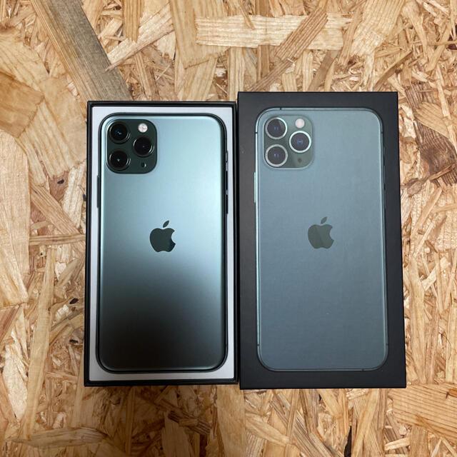 Apple(アップル)の値下げ iPhone 11 pro 64GB simフリー ミッドナイトグリーン スマホ/家電/カメラのスマートフォン/携帯電話(スマートフォン本体)の商品写真