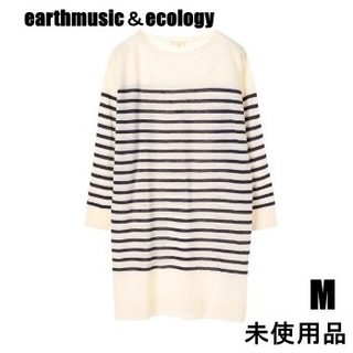 earth music & ecology - earthmusic&ecologyボーダーニットワンピース薄手ニットセーターM