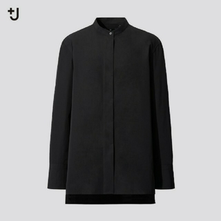 ユニクロ(UNIQLO)の*おいも様 専用* ユニクロ +J スーピマコットンスタンドカラーシャツ 黒 S(シャツ/ブラウス(長袖/七分))