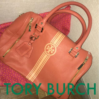 トリーバーチ(Tory Burch)のTory Burch★トリーバーチ ロゴセンターラインオレンジ ハンドバッグ 鞄(ハンドバッグ)