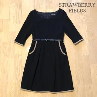 STRAWBERRY-FIELDS - STRAWBERRY FIELDS ブラック フェミニンワンピース(美品)