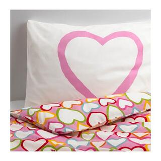 イケア(IKEA)のIKEA イケア ハート柄 ベッドカバー 掛け布団&枕カバー 200x150(シングルベッド)